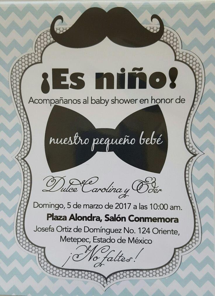 Invitación de moño y mostacho, para baby shower #decoracionbabyshowerboy