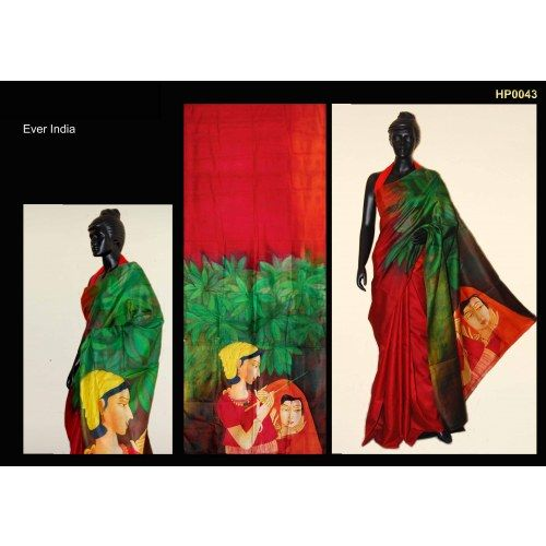 Bankura (bishonpur) Silk Hand Painted Saree. MADE on ORDER. 4 WEEKS DELIVERY TIME pd0043