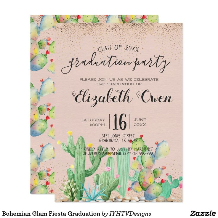 "Bohemian Glam Fiesta Graduation Card Add your custom wording to this design by using the ""Edit this design template"" boxes on the right hand side of the item, or click the blue ""Customize it"" button to arrange the text, change the fonts and colors and to also add additional information or images to this design. ****For custom order, do not place this merchandise in your cart. Instead, click on the ""contact seller"" button and email me your request. A link to your merchandise will be emailed to yo"