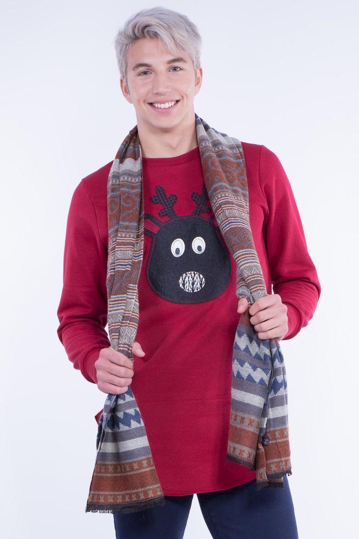 Longline Christmas Sweatshirt With Curved Hem