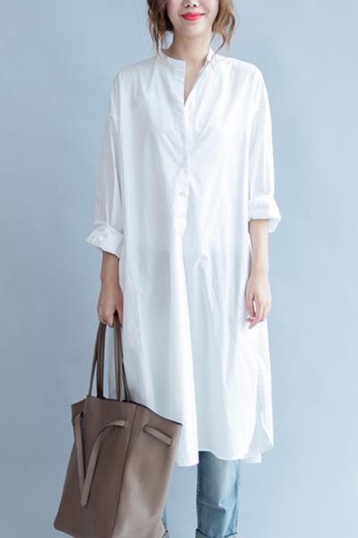 White Fashion Pure Color Cotton Long Shirt Dresses Q3101A