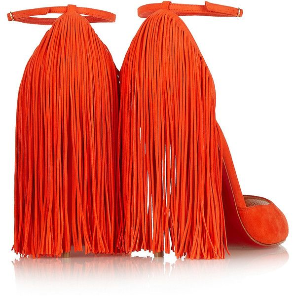 Christian Louboutin Otrot 120 fringed suede sandals ($545) ❤ liked on Polyvore featuring shoes, sandals, strappy high heel sandals, high heel sandals, suede shoes, orange shoes and fringe shoes