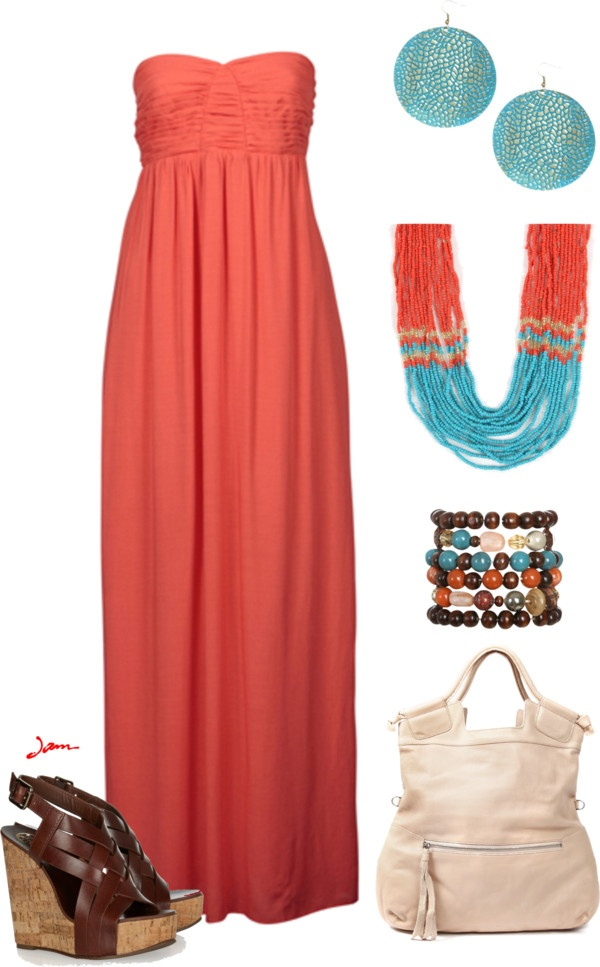 """Orange/Turquoise maxi"" by jayneann1809 ❤ liked on Polyvore"
