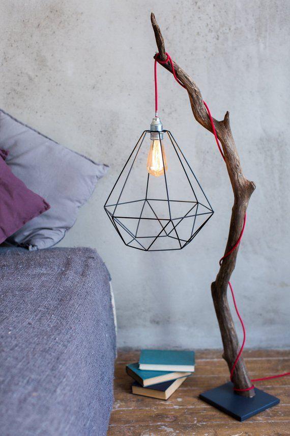 Treibholz Stehlampe, Edison Glühbirne, Stehlampe, Holzlampe, Akzent Lampe, Metallschatten, Loft Stil Lampe, moderne Stehlampe. Wohnzimmerlampe