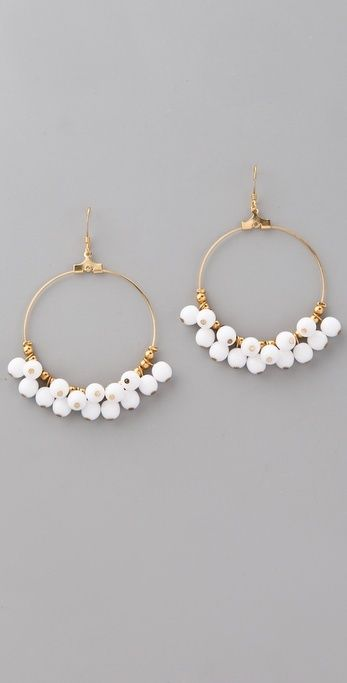 "Kenneth Jay Lane Beaded Hoop Earrings. These 22k gold-plated earrings feature resin beads at the hoops. 2.5"" (6.5 cm) long including French hook. Made in the USA."