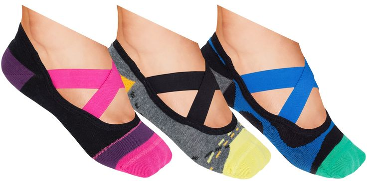 Lupo Women's Fashion Gift Set No Skid Crossover Yoga Pilates Barre Grip Socks, Large, Pink, Black, Blue, Yellow, Gray 3 Pack