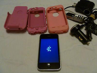 Apple iPhone 3GS - 8GB - Black Smartphone W/ Pink Otter Box | eBay