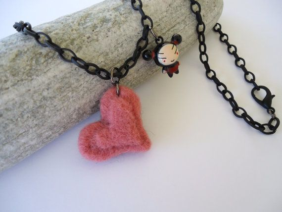 Long necklace with 3D felt heart and puca belt in by PopisBOUTIQUE
