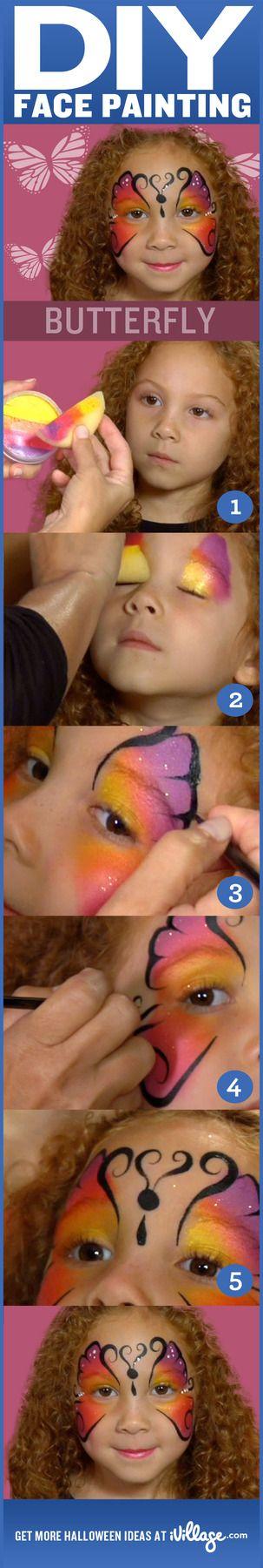 Cómo hacer pintura de la cara de la mariposa para los niños