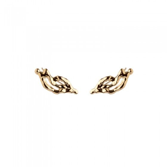 The Curved Molten Earrings are inspired by dripping melted metal. These ear crawlers add instant texture to your wardrobe.  Wear them along with your XL Molten Cuff for a polished look.  Fall '16 Collection   Available in 14K Yellow Gold Plated Brass o