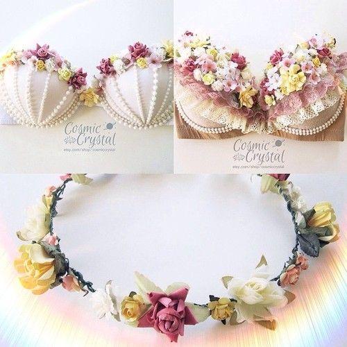 Floral Crown Pearl Rave Bra