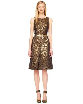 Belted Jacquard Dress by Michael Kors at Bergdorf Goodman.