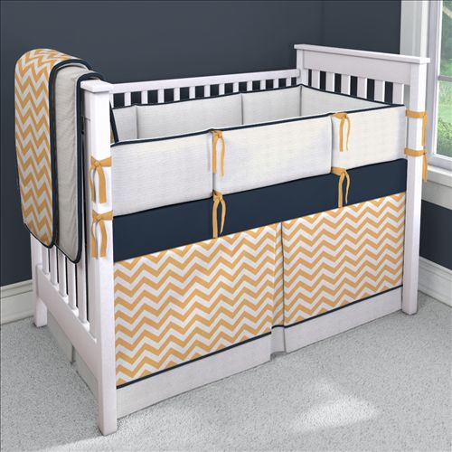 Light orange zig zag with navy custom bedding carousel for Zig zag bedroom ideas