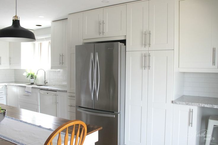 An IKEA Kitchen Reno Before & After with Grimslov cabinets, Lansa handles, white subway tile, and a bit of farmhouse flare.