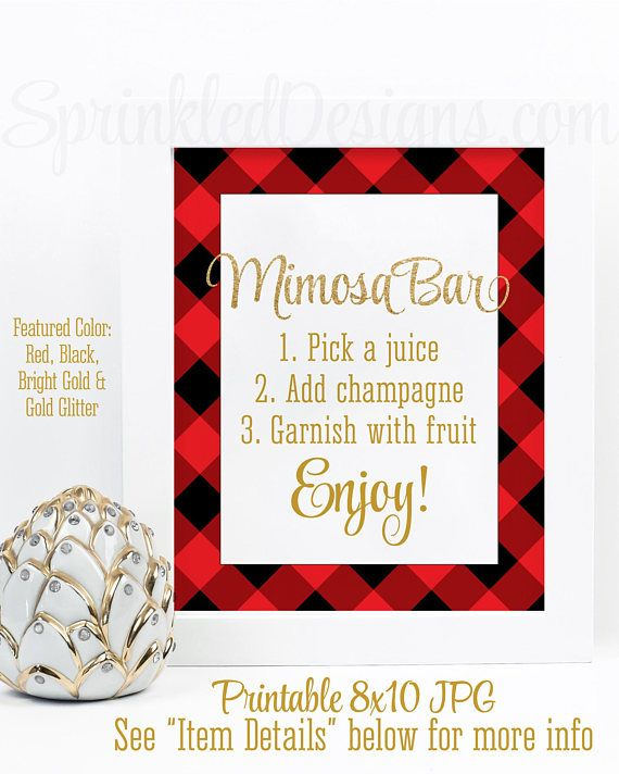 Buffalo Plaid Mimosa Bar Sign, Holiday Mimosa Sign, Printable Christmas Party Decorations, Holiday Party Sign, Red Black Gold Glitter Decor - sprinkleddesign.etsy.com
