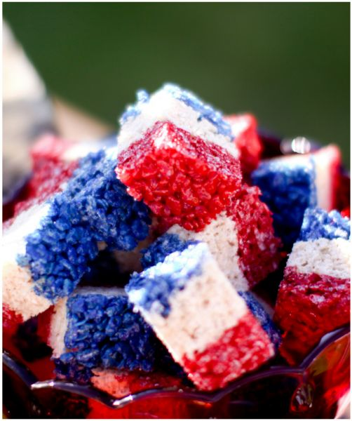 red, white and blue rice krispy treats