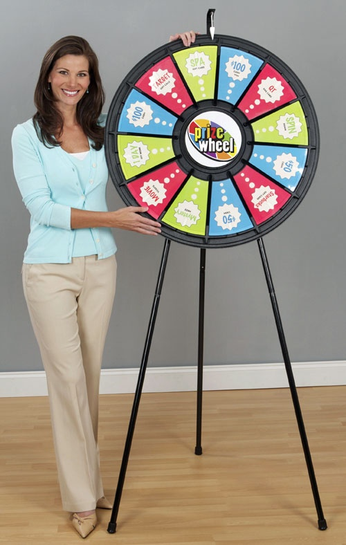 "Two Prize Wheels in One! Yes... the 12-Slot Floor and Table Prize Wheel can be used as either a floor ar table Wheel. This 31"" Prize Wheel is priced at $299.99 from PrizeWheel.com. With the Custom Game Gizmo or downloadable templates you can switch out the prizes or Wheel design as often as you would like."