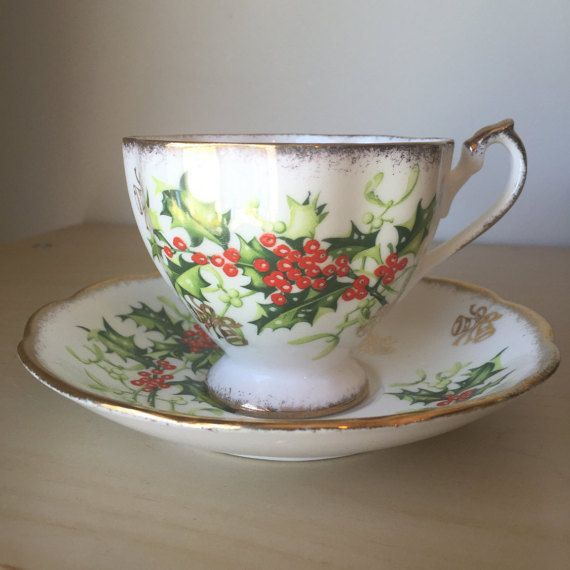 "Queen Anne ""Yuletide"" Vintage Teacup and Saucer, Green Holly Red Berry Tea Cup and Saucer"