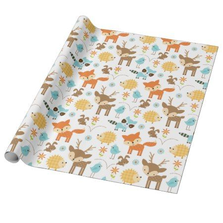 Cute Baby Woodland Animals Wrapping Paper - tap, personalize, buy right now! #pattern #patterns #illustrations #illustration #animal #animals #giftwrap #giftwrapping #kids #children #babyshower
