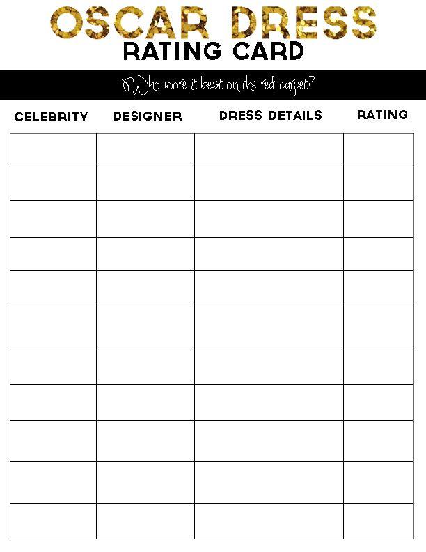 Printable Oscar Party Dress Rating Card #oscars #oscarnight