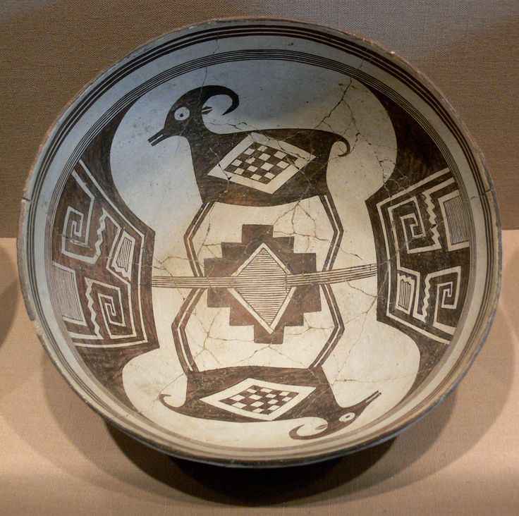 Description Mimbres Bowl with bighorn sheep and geometrical design