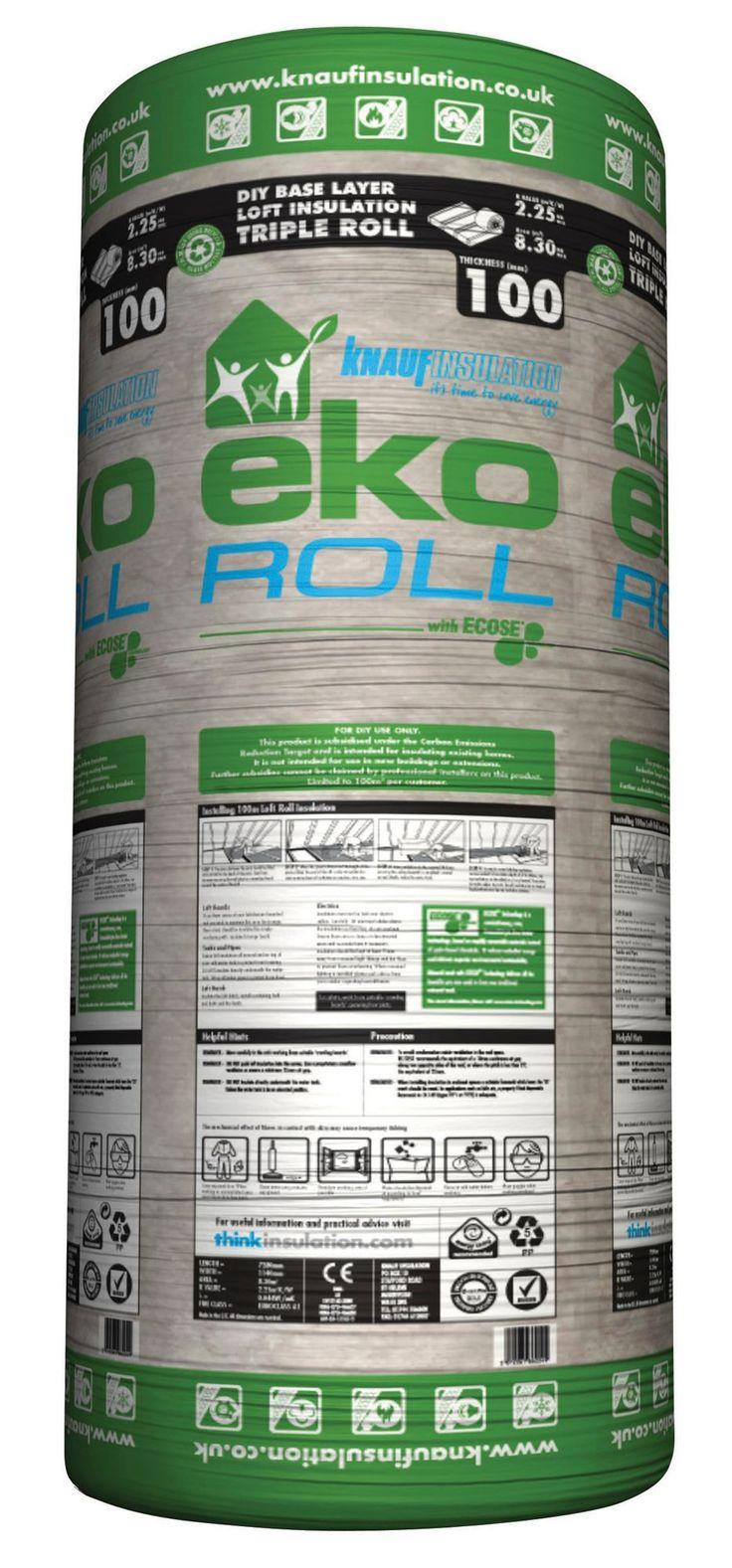Knauf Eko Roll Loft Insulation, (L)7.28m (W)1140mm (T)100mm | Departments | DIY at B&Q