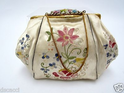 Vintage French Embroidered Beige Silk Evening Bag with Beaded Accents Closure