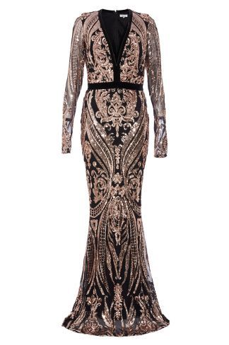 b295b97b Buy Black And Rose Gold Sequin Embellished Fishtail Maxi Dress online now  from Quiz. Great deals and free UK delivery