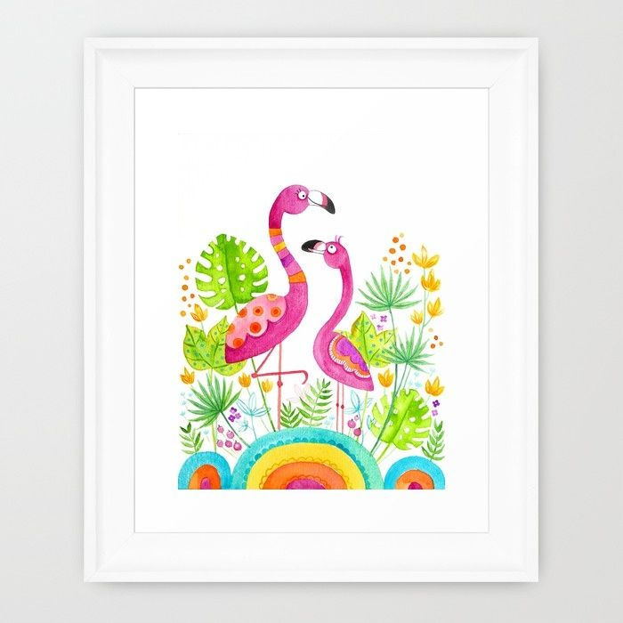 #Flamingos Framed Art Print; illustration by Doro Kaiser via #Society6