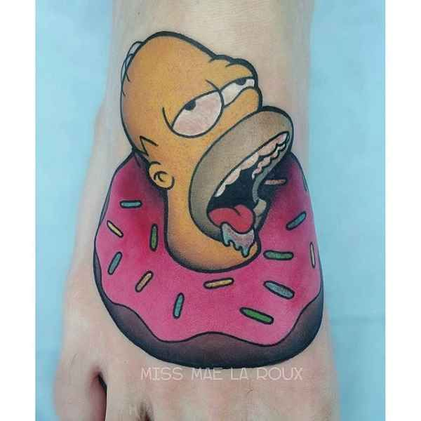 Homer face tattoo naked girl