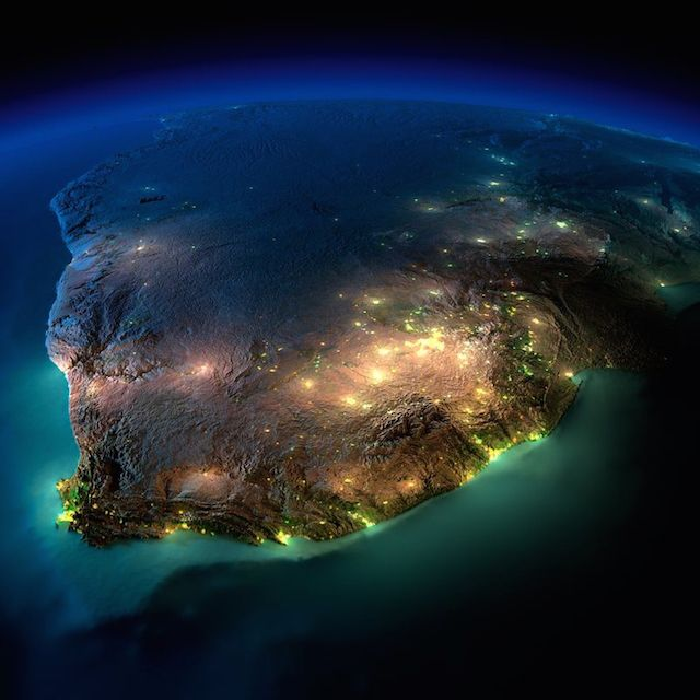 South Africa - earth seen from space at night by nasa (8)