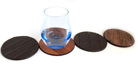 Leather Coaster Set Trivets Rustic Eco Friendly by Greenbelts, $35.00