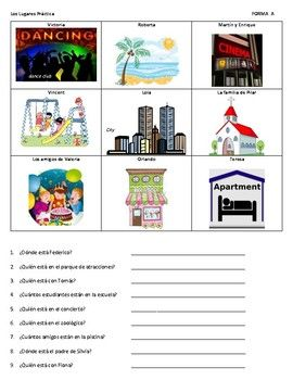 * A great activity to practice Q+A in Spanish with places vocabulary. In partners, each student gets a different set of pictures. Students ask each other 9 questions in Spanish and answer based on their own set of pictures. Activity also reinforces ¿Dónde está . . . ?