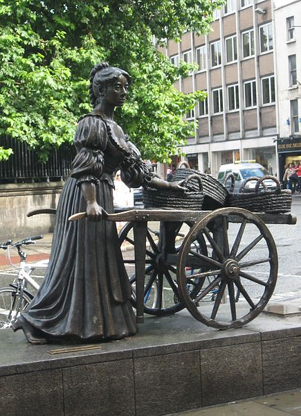 """♪♪In Dublin's fair city, Where the girls are so pretty, I first set my eyes on sweet Molly Malone, As she wheeled her wheel-barrow, Through streets broad and narrow, Crying, """"Cockles and mussels, alive, alive, oh!""""♪♪ .....................Sweet Molly Malone is the unofficial anthem of Dublin City."""