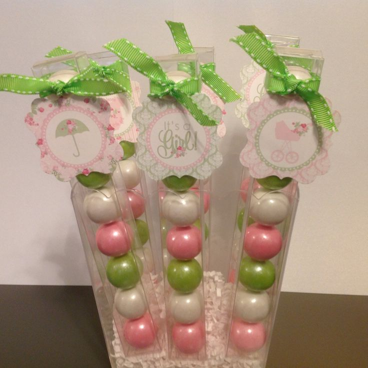 Shabby Chic Country Style Baby Girl Shower - Party Favor Gumball Candy by LolasSweetsAndTreats on Etsy