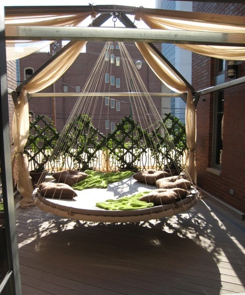 Outdoor Cabana for hanging a Floating Bed