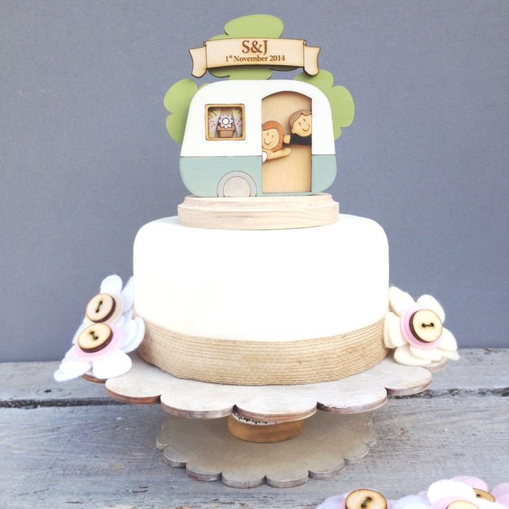 Caravan wedding topper - shabby chic style personalised cake topper by weedots on Etsy https://www.etsy.com/uk/listing/206759512/caravan-wedding-topper-shabby-chic-style