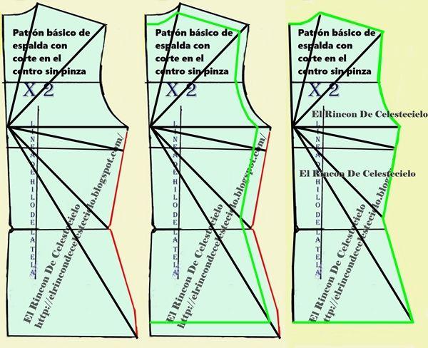 Transformación de patrón de espalda con corte en el centro sin pinzas en patrón de punto con elasticidad máxima