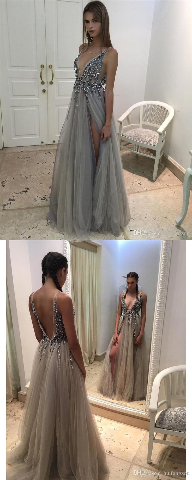 2017 prom dress, long prom dress, grey prom dress, v-neck prom dress, side slit prom dress, evening dress, luxurious beads prom dress