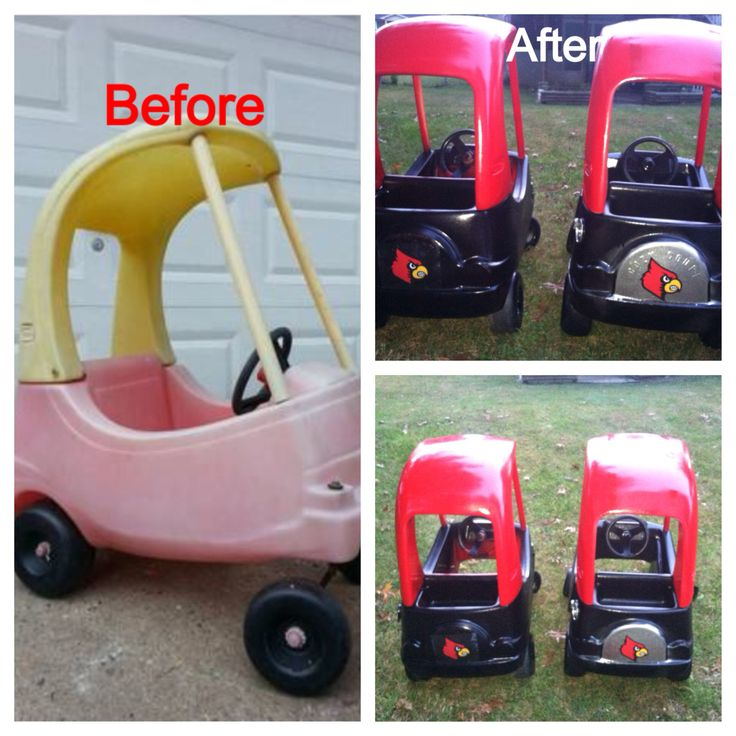 Cozy coupe to university of Louisville mobile for our twins
