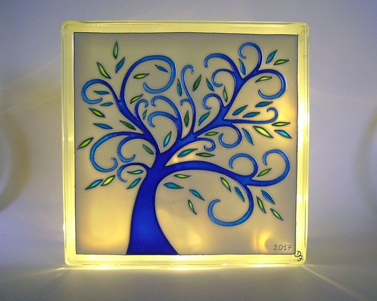 Tree of Life Unique Lighting Glass Block Decorative Room