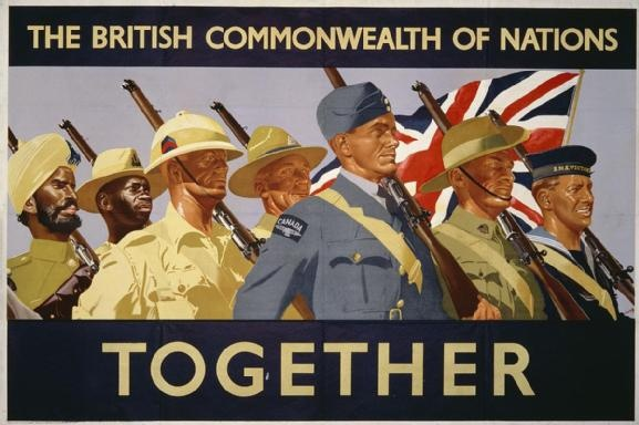 TOGETHER, The British Commonwealth of Nations, 1941, Great Britain, poster attributed to Lucas, lithograph on paper, 1017 mm. x 1520 mm., Fosh and Cross, Ltd. for His Majesty's Stationery Office. Left to right they are soldiers from India, East Africa, South Africa, New Zealand, a Canadian airman, an Australian soldier and a Royal Navy sailor.