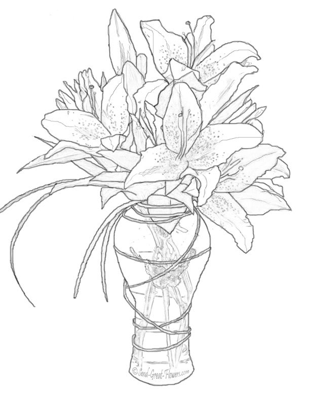 Colouring Pages Of Flowers In Vase : 500 best floral coloring pages for adults images on pinterest