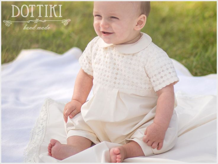 Baby Boy Baptism Outfit, Boys Romper, Christening Silk and Organza Romper, Christening Gown, Jumpsuit by DOTTIKI on Etsy