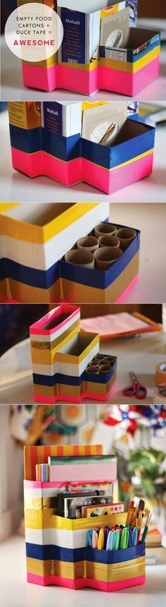 organizador con cajas de cereal y rollos de papel higiénico