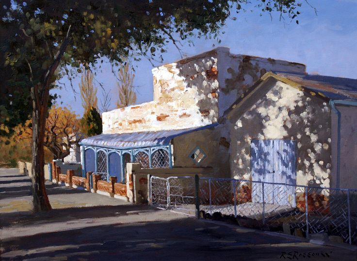 The House on Zahn Street, Carnarvon.Artist: Roelof Rossouw. Oil on stretched canvas – unframed.  Size: 56x76cm. Price Unframed: ZAR 18,500 Painting can be purchased on our shopping cart at www.africaskygallery.com Contact Email: info@africaskygallery,com