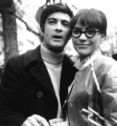 cinematocat:    anna—karina:    On the set of Anna with Jean-Claude Brialy, 1967.