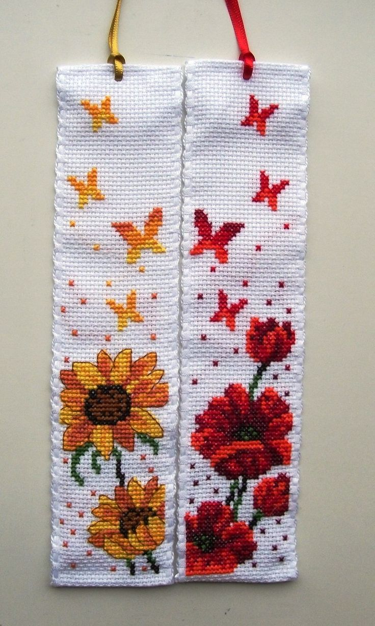 Permin Flower cross stitch bookmarks.
