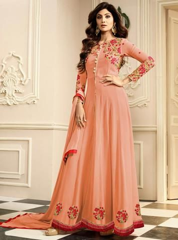Shop for Designer Collection of Off While Karma Shilpa Shettty Anarkali Suit at Liinara. All Latest Pattern Available with 100% Original Product Guarantee.