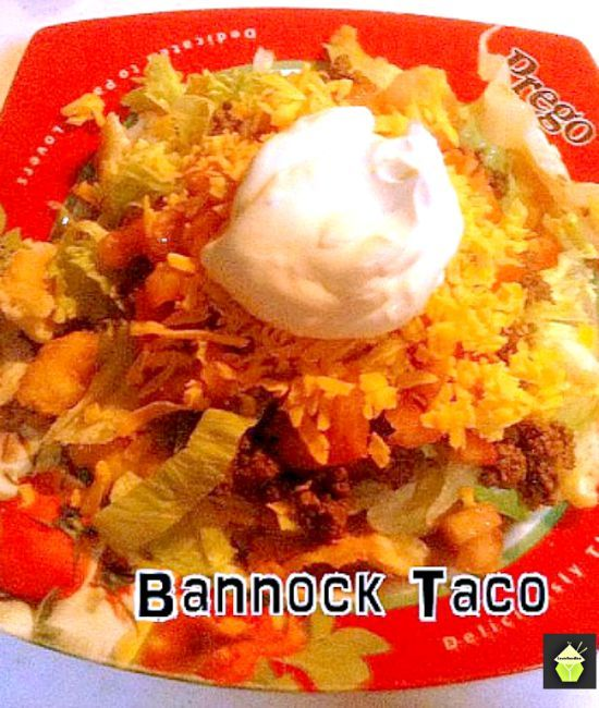 Bannock Taco also known as Indian Taco gets its name from the Bannock Fry Bread often used by Native American Indians. Fry bread was created in 1864 using the flour, sugar, salt and lard that was given to them by the United States government when the Navajo Native Americans, living in Arizona, were forced to make the 300-mile journey known as the 'Long Walk' and relocate to Bosque Redondo, New Mexico onto land that couldn't easily support their traditional staples of vegetables ...